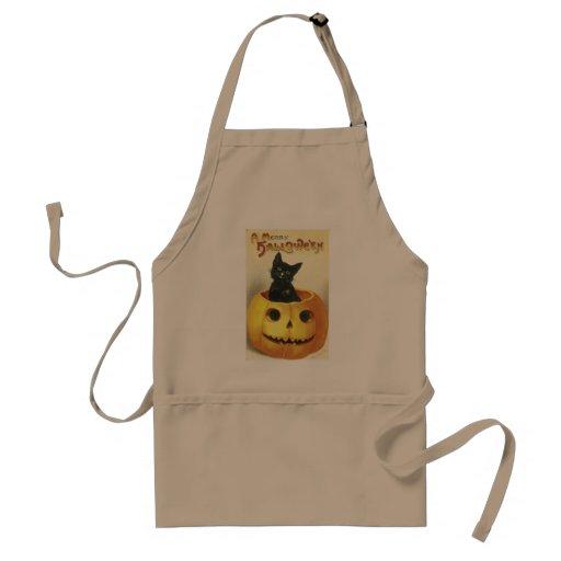Feliz gato pasado de moda de Halloween Delantal