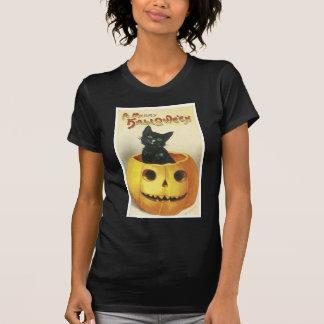 Feliz gato pasado de moda de Halloween Playera