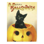 Feliz gato pasado de moda de Halloween Postal