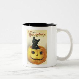 Feliz gato pasado de moda de Halloween Taza Dos Tonos