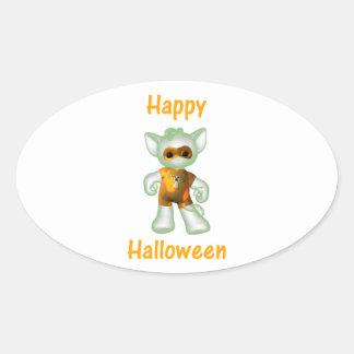 Feliz Halloween 3 Pegatina Óval