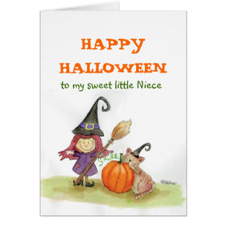 Feliz Halloween a mi sobrina Tarjeta De Felicitación