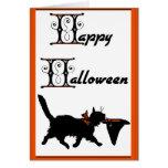 Feliz Halloween a partir de un gato fresco a otro Tarjeta De Felicitación