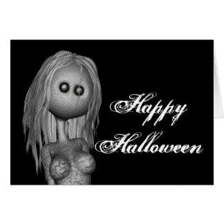 Feliz Halloween agrietado de la muñeca de la estat Felicitacion