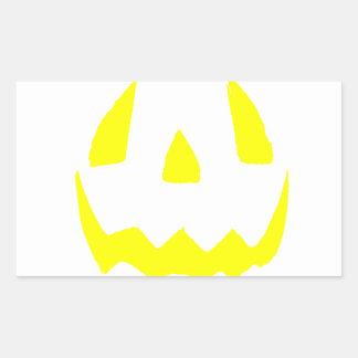 Feliz Halloween amarillo de la cara del resplandor Pegatina Rectangular