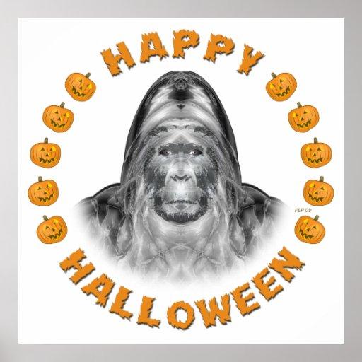 Feliz Halloween Bigfoot Póster