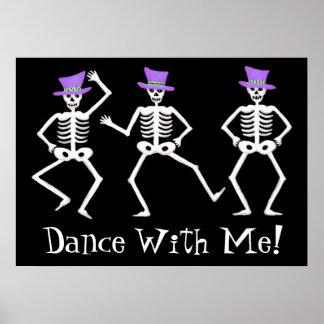Feliz Halloween blanco negro de los esqueletos del Impresiones