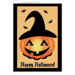 Feliz Halloween - bruja de la calabaza Tarjeta De Felicitación