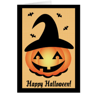 Feliz Halloween - bruja de la calabaza Tarjeton