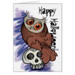 ¡Feliz Halloween! Búho Skull~cards de Scardy Tarjeta