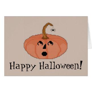 ¡Feliz Halloween! Calabaza asustada Notecard Tarjeta Pequeña