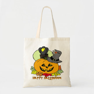 Feliz Halloween - calabaza, bolso del cuervo Bolsa Tela Barata