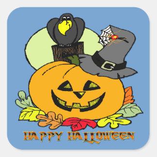 Feliz Halloween - calabaza, pegatina cuadrado del