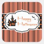 Feliz Halloween Calcomania Cuadradas Personalizada