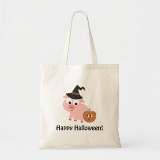 ¡Feliz Halloween! Cerdo de la bruja Bolsa Tela Barata