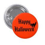 Feliz Halloween con el gato negro Pin Redondo De 1 Pulgada