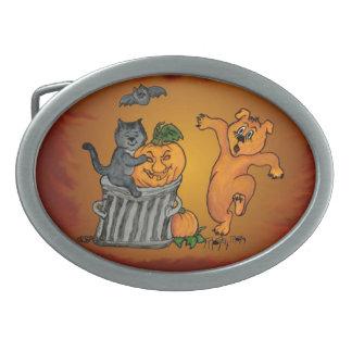 Feliz Halloween con el perro y la araña del palo Hebillas Cinturon Ovales
