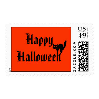 Feliz Halloween con franqueo del gato negro