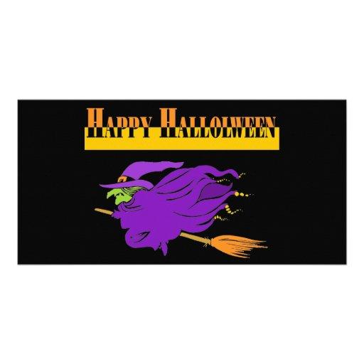 Feliz Halloween con la bruja púrpura Tarjetas Con Fotos Personalizadas
