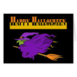 Feliz Halloween con la bruja púrpura Tarjetón
