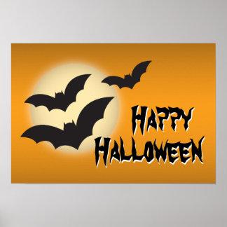 Feliz Halloween con los palos y el poster de la lu