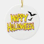 feliz Halloween con los palos yellow.png Adorno Redondo De Cerámica