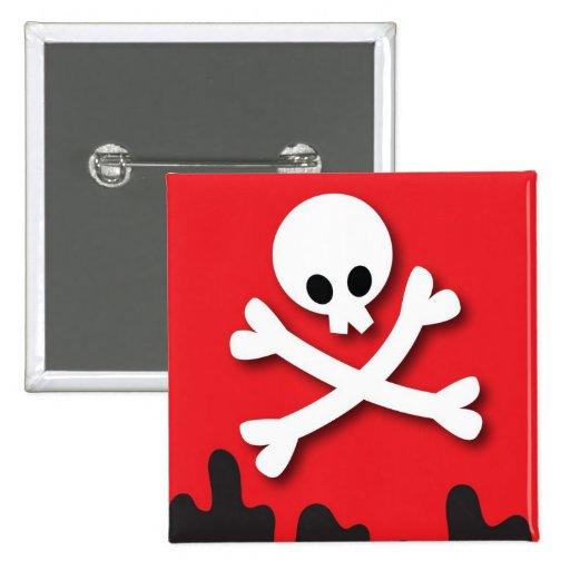 ¡Feliz Halloween! cráneo y bandera pirata Pin Cuadrada 5 Cm
