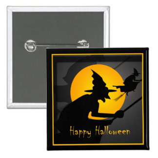 Feliz Halloween de la bruja del vuelo Pin Cuadrada 5 Cm