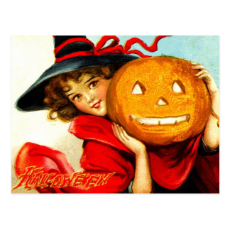 Feliz Halloween de la bruja en rojo Tarjetas Postales