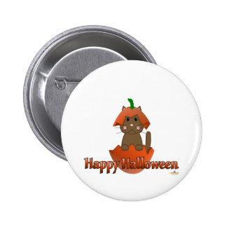 Feliz Halloween de la calabaza del gato de Brown Pins