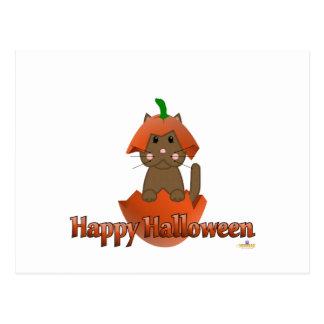 Feliz Halloween de la calabaza del gato de Brown Tarjeta Postal
