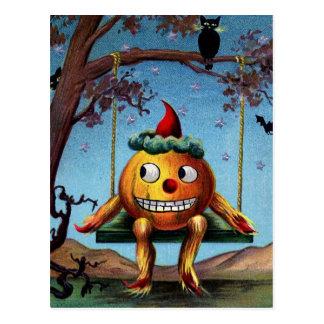 Feliz Halloween de la calabaza en un oscilación Postal