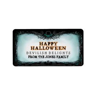 Feliz Halloween de la etiqueta de Halloween - Etiqueta De Dirección