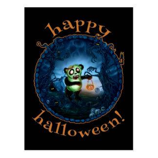 Feliz Halloween de la panda del zombi Tarjeta Postal