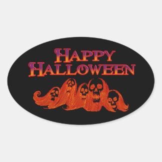 Feliz Halloween de las brujas de Halloween Pegatina Ovalada