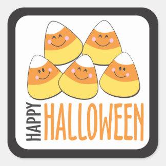 Feliz Halloween de las pastillas de caramelo Pegatina Cuadrada