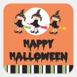 Feliz Halloween de tres pequeño brujas Calcomanía Cuadradas