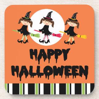 Feliz Halloween de tres pequeño brujas Posavasos De Bebidas