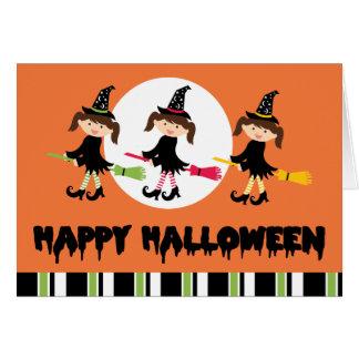 Feliz Halloween de tres pequeño brujas Tarjetas