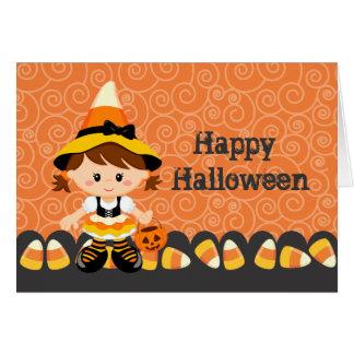 Feliz Halloween del chica de la bruja del caramelo Tarjeta De Felicitación