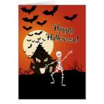 Feliz Halloween del esqueleto del baile Tarjetas