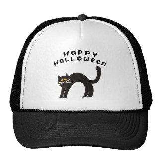 Feliz Halloween del gato negro Gorros