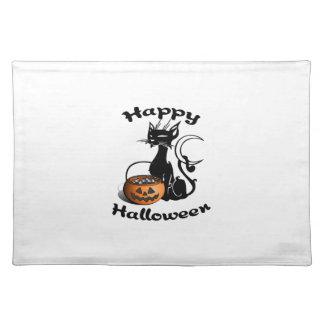Feliz Halloween del gato negro Manteles Individuales