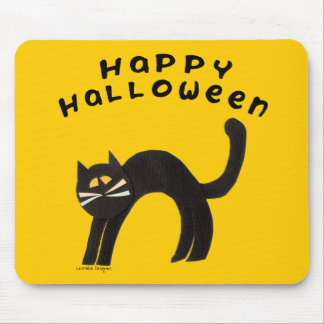 Feliz Halloween del gato negro Mouse Pads