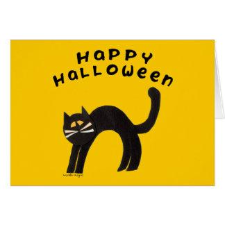 Feliz Halloween del gato negro Tarjeta De Felicitación