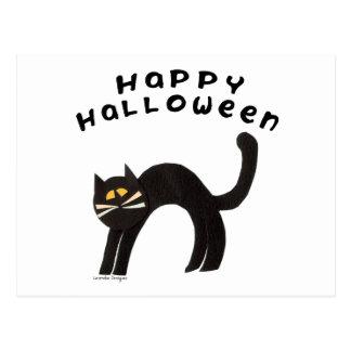 Feliz Halloween del gato negro Tarjeta Postal