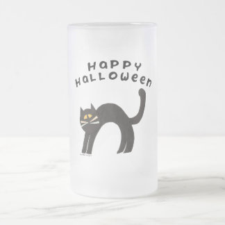 Feliz Halloween del gato negro Taza Cristal Mate