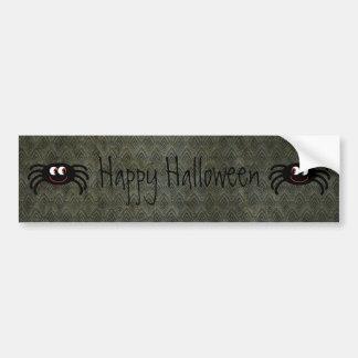 Feliz Halloween del Grunge del vintage de las arañ Pegatina De Parachoque