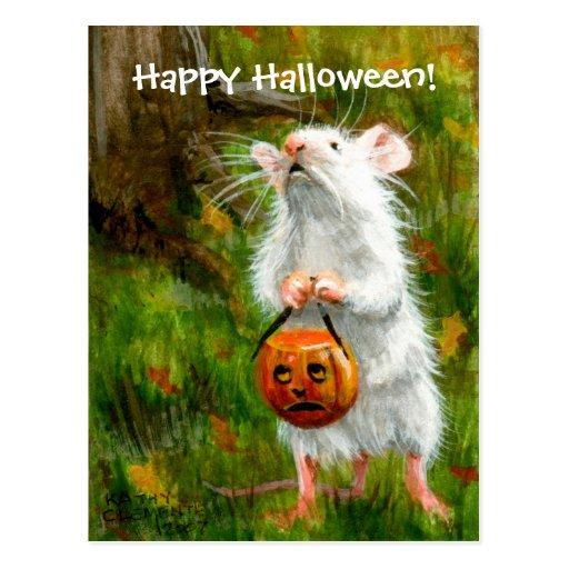 ¡Feliz Halloween del ratón! Postal
