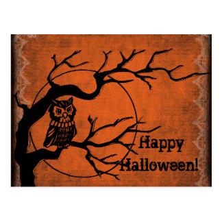 Feliz Halloween del vintage con el búho Tarjeta Postal